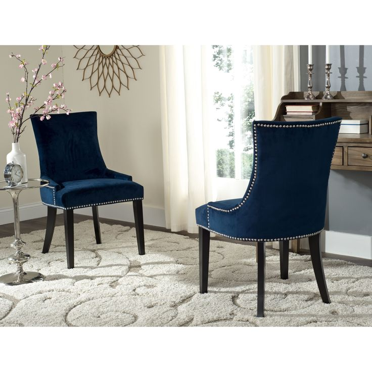 Safavieh En Vogue Dining Lester Navy Chairs Set Of 2 By