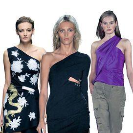 Se vuoi essere super sexy scegli senza esitazione un modello dalla manica lunga, come quello fatto sfilare da Versace. Il bello degli abiti monospalla, poi, è che basta un piccolo pull per mimetizzan