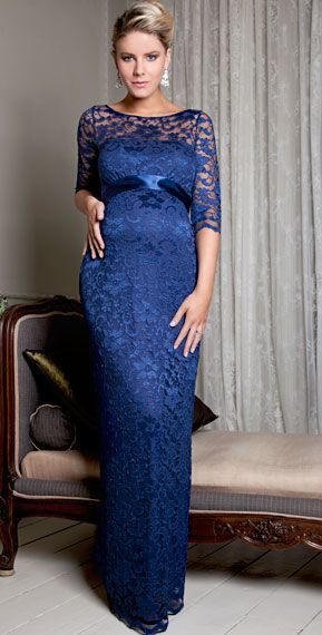Amelia Lace Maternity Dress Long (Windsor Blue)