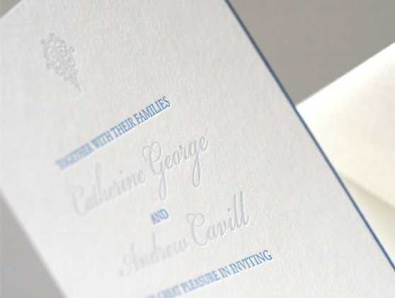 letterpress wedding stationery. 'Eternity' design in two shades of blue. Super thick 600gsm cotton paper. Edge painting in sky blue.