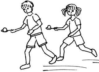 Staffelspiele - Junge, Mädchen, Kind, Laufen, Staffel, Staffelspiel, Spiel, Wettkampf, Sport, Illustration