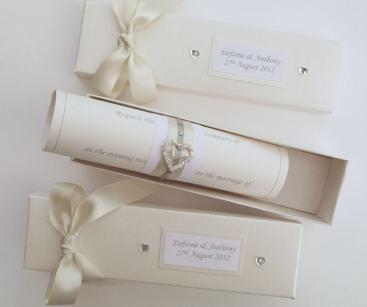 Elegant Wedding Invitations with Crystals | Scroll Wedding Invitations. | Carol Miller Designs- wedding stationery ...