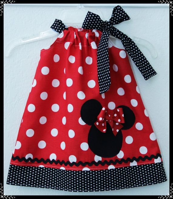 Super Cute Red Polka dot Minnie Mouse  applique Dress. $24.00, via Etsy.