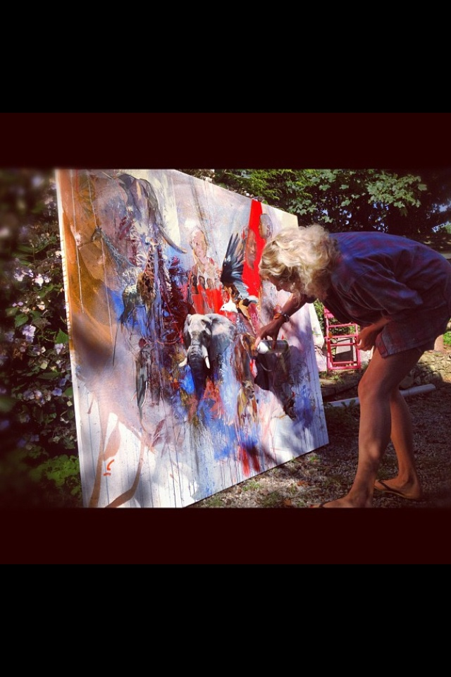 Emily Lamb painting up a storm