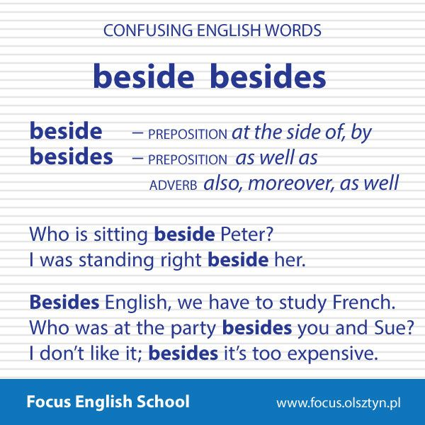 The confusing English words: beside, besides
