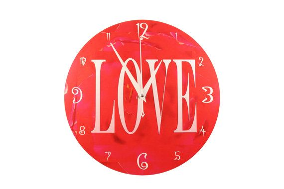 """"""" Wall Clock - """"Love""""  """"Love"""" is the theme of this wall clock, simply Love. Add a splash of passionate crimson red into your room, perhaps the bedroom? And let it fire up your heart."""