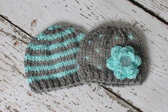 Newborn boy/girl twins hat set in aqua and gray on Etsy, $18.00