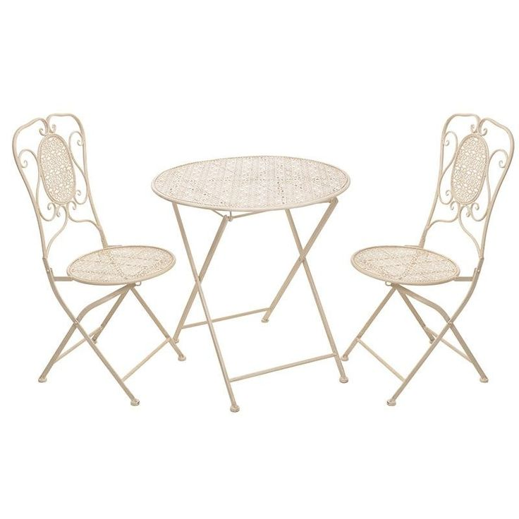 S/3 METAL TABLE IN CREAM COLOR W/2 CHAIRS 70X70X71 - Outdoor - FURNITURE