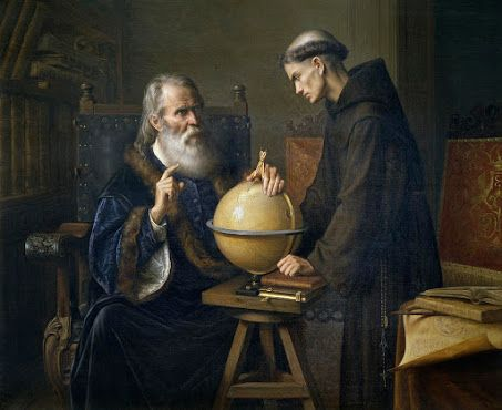 Galileo Galilei demonstrating his new astronomical theories at the university of Padua (oil on canvas) by Parra, Felix (1845-1919).