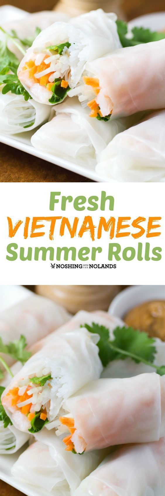 Fresh Vietnamese Summer Rolls by Noshing With The Nolands are full of fresh, delicious flavor and can be served as an appetizer or part of the main course all year round.
