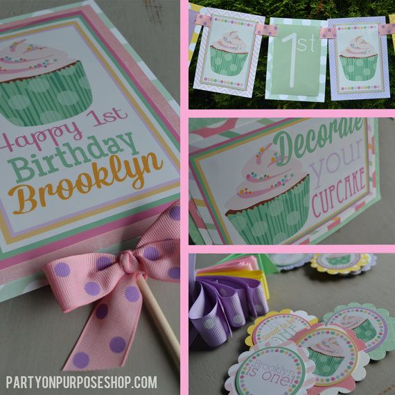 Cupcake birthday party decorations package pastels for 21st birthday decoration packages