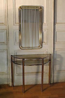 Super-1970s-Brass-Hall-Mirror-Console-Retro-Vintage-Hollywood-Regency