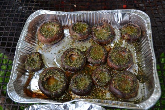 Champignons van de barbecue