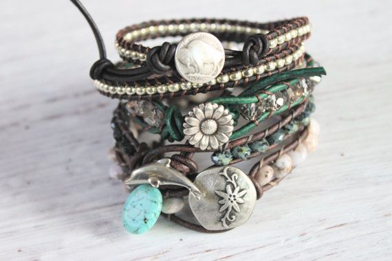 Buffalo Nickel Silver Bead Wrap Bracelet by merrynwhimsy on Etsy, $38.00