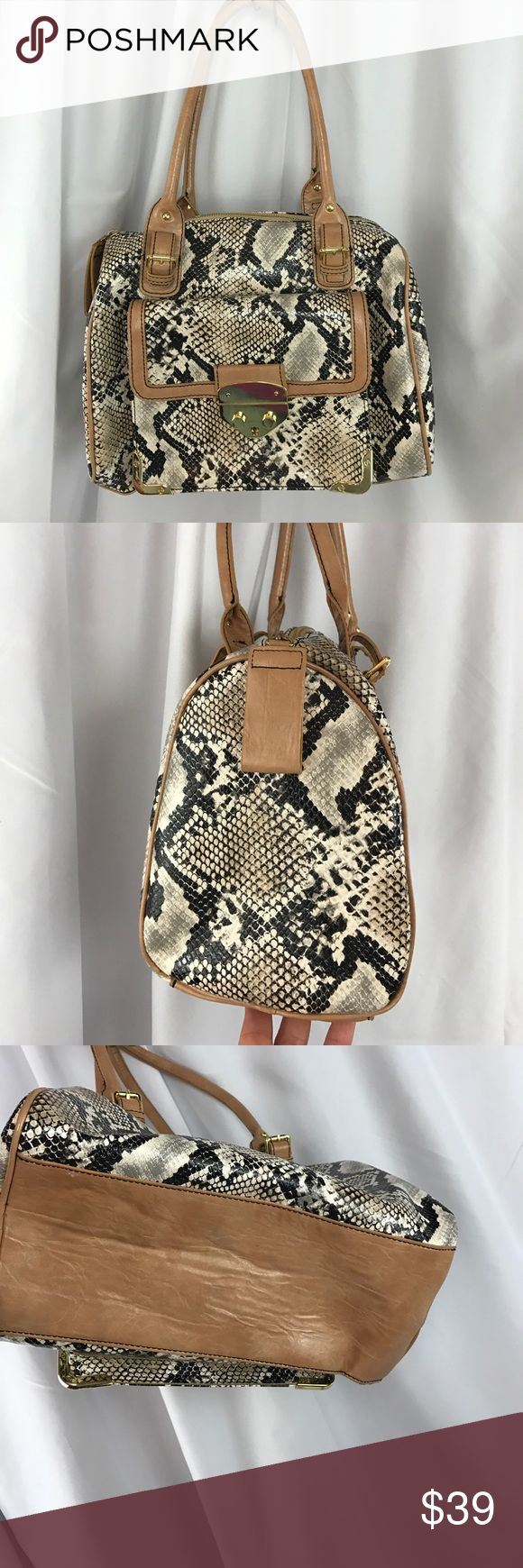 """Jessica Simpson faux snakeskin satchel w/tan trim Excellent used condition Jessica Simpson faux snakeskin satchel w/tan trim...gold metal accents...9"""" handle drop...13""""X11""""x5""""...very clean interior...no stains/no tears/no odors... Jessica Simpson Bags Satchels"""