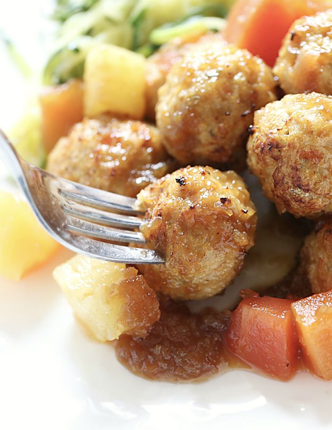 Baked Tropical Chicken Meatballs made with JUST 3 ingredients #VidaDole #ad
