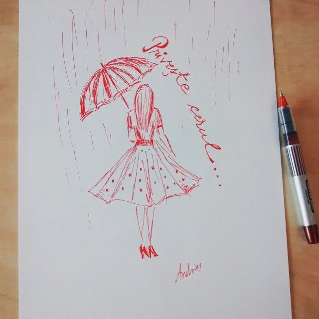 Privește cerul! #desenezcupixul #mydrawing #ladyinred #rain #thoughtsonpaper