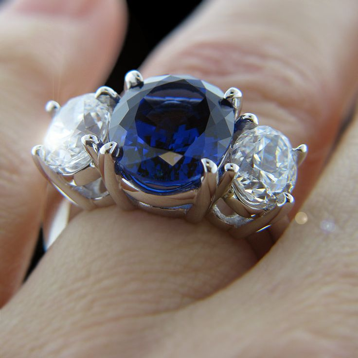 154 best gemstone engagement rings images on pinterest for Man made sapphire jewelry