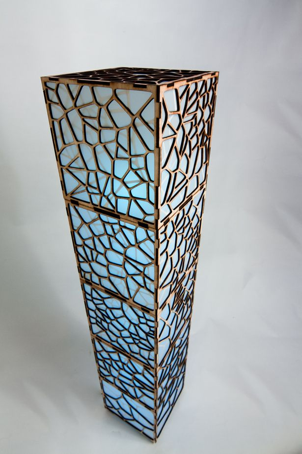 Laser cut floor lamp w/ programmable LED array by Smith Factory, LLC