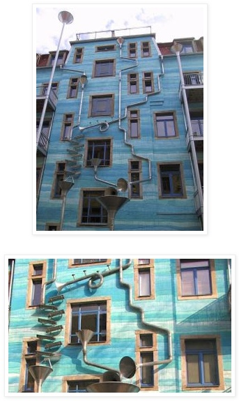 blue house in dresden! i love the drain funnels!Drain Funnel, Kunethofpassag Funnel, Funnel Wall