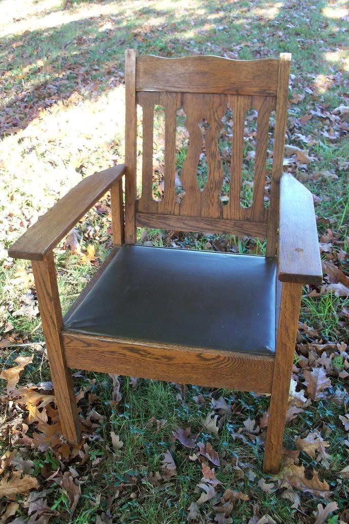 Mission Tiger Oak Chair Lattice Back Early By IndustrialPlanet