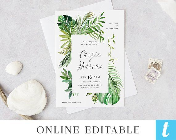 Tropical Beach Wedding Invitation Template Printable Hawaiian
