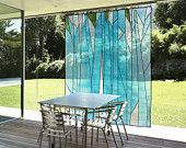 Abstract forest design - Sheer window shade/ covering, in/outdoor décor. Korean fabric art, Jogakbo
