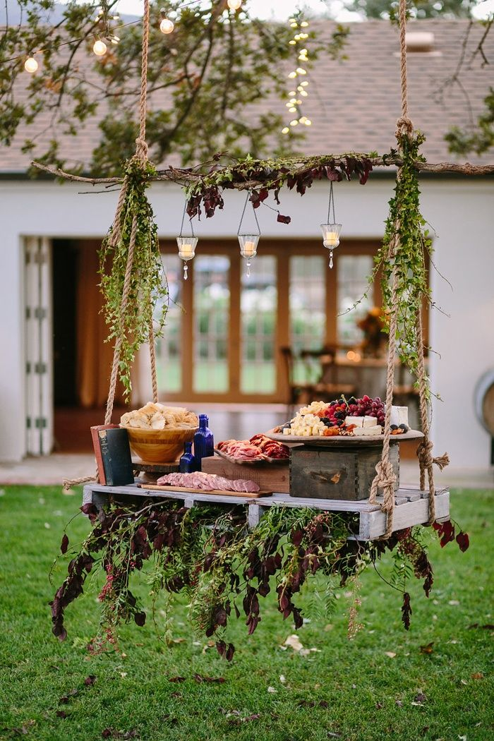 Swing Featuring Meat, Cheese, & Fruit Platter   Photo: Brian Leahy Photography. View More:  http://www.insideweddings.com/weddings/rustic-chic-engagement-party-inspiration-at-a-california-farmhouse/935/