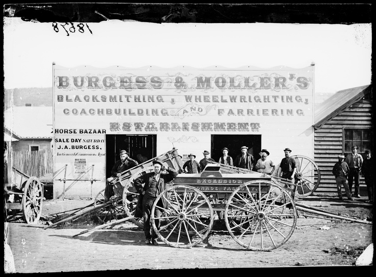 Burgess & Moller's blacksmithing, wheelwrighting, coachbuilding and farriering establishment, Hill End