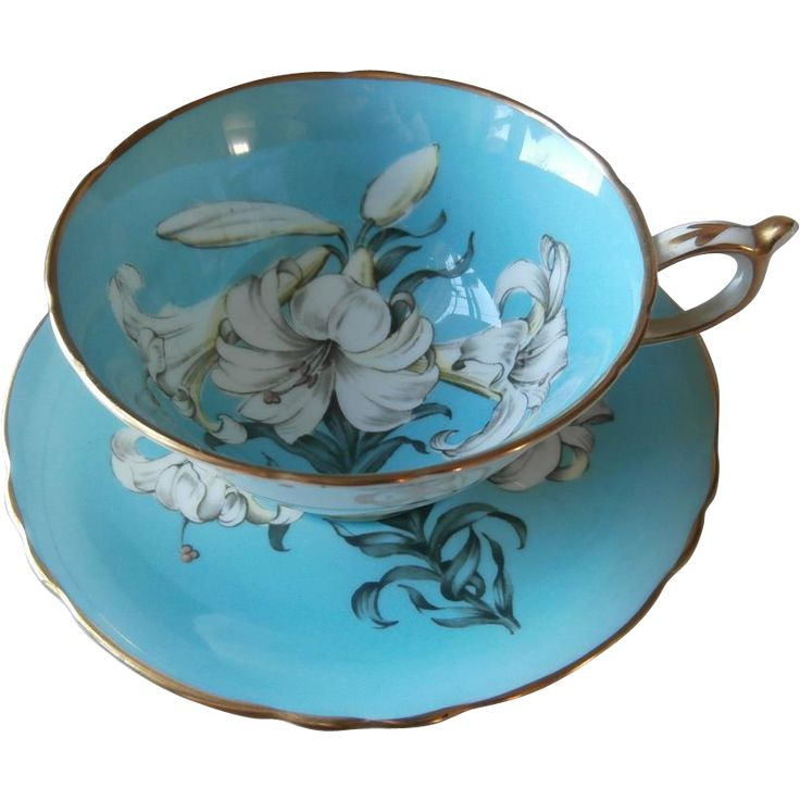 Paragon Turquoise Easter Lily Cup Saucer Bone China Vintage As Is