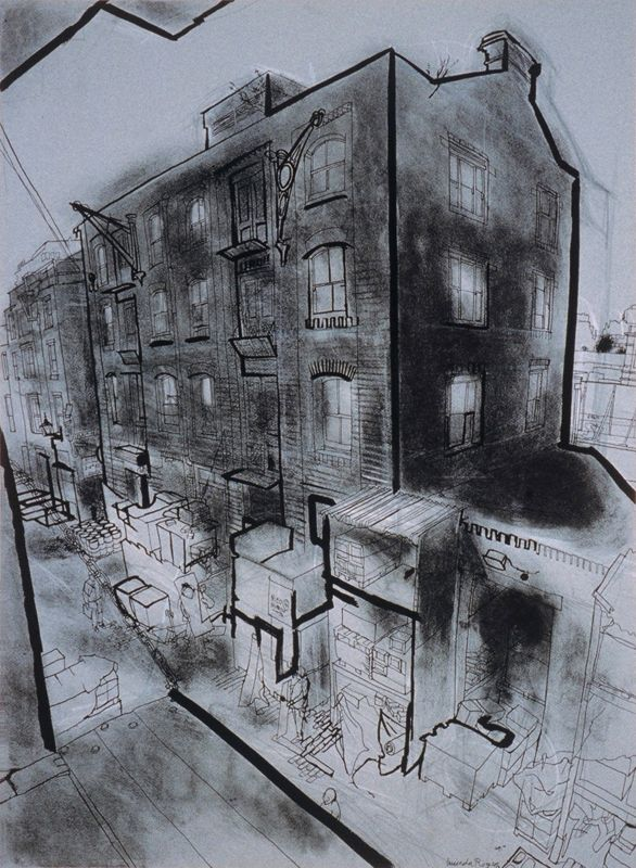 lucinda rogers ink drawing crayon charcoal london life shoreditch london east end cityscape street scene