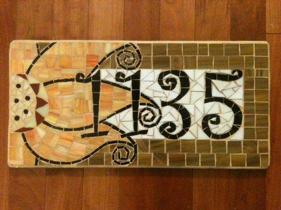RESERVE FOR LEESTU: Custom Mosaic Address Plaque