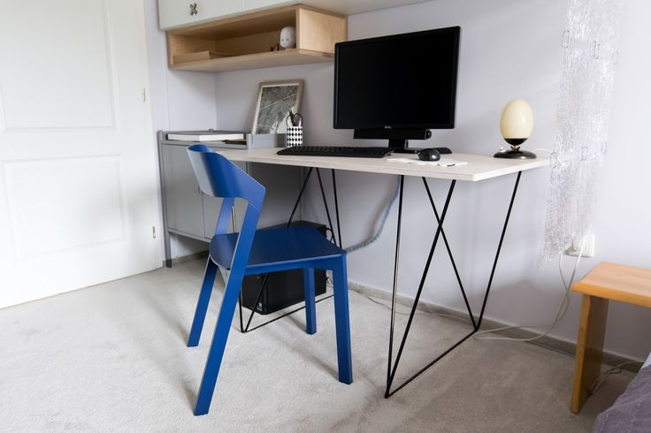 Nice cobalt blue chair by TON design. To see more pics of this workspace go to → http://bit.ly/2rm3lLF