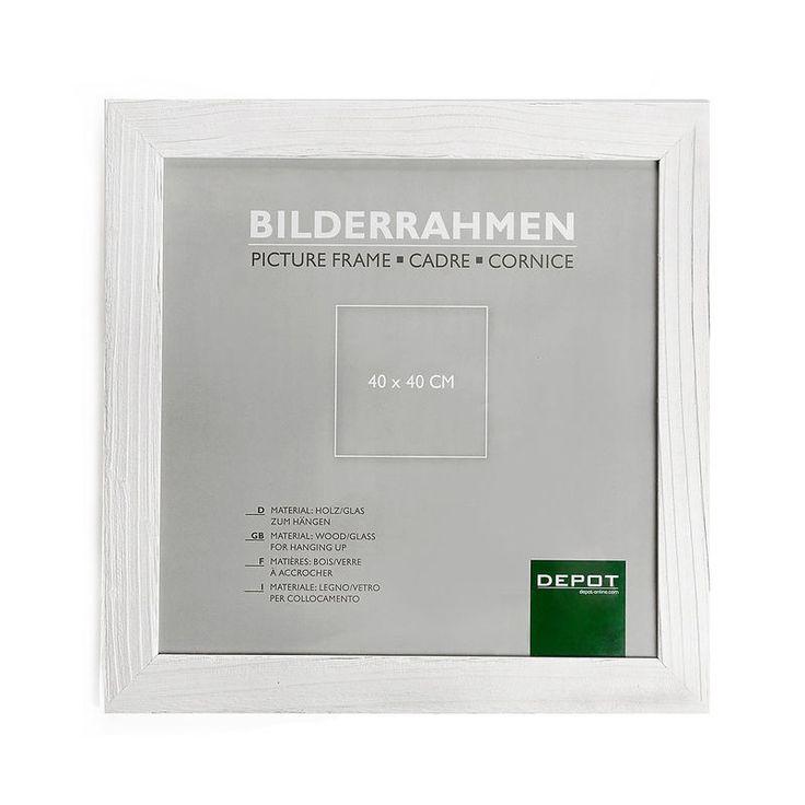 Bilderrahmen Kiefer weiß 40x40 cm