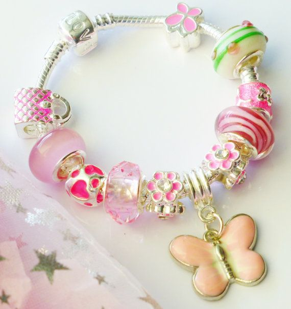 Pink charm bracelet & butterfly pendant childrens by JewlsGifts
