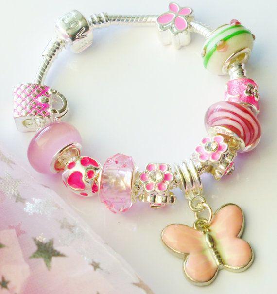Pink charm bracelet & butterfly pendant childrens by JewlsGifts