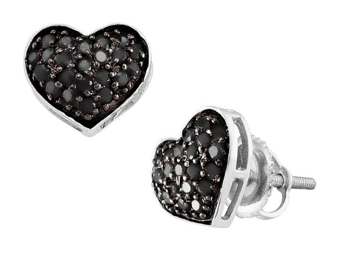 Black Diamond Heart Earrings 2/5 Carat (ctw) in 10K White Gold...hearts...love..
