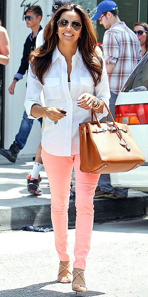 EVA LONGORIA photo | Eva Longoria: Coral Pants, Pastel Pants, Longoria Photo, Pink Pants, Peaches Pants, Eva Longoria, Pink Jeans, Peaches Jeans, White Buttons Up