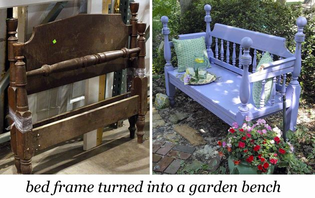old bed frame and a purple garden bench made from bed frame