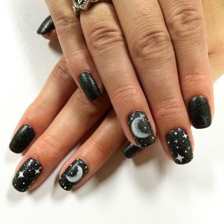 Moon and star nail art
