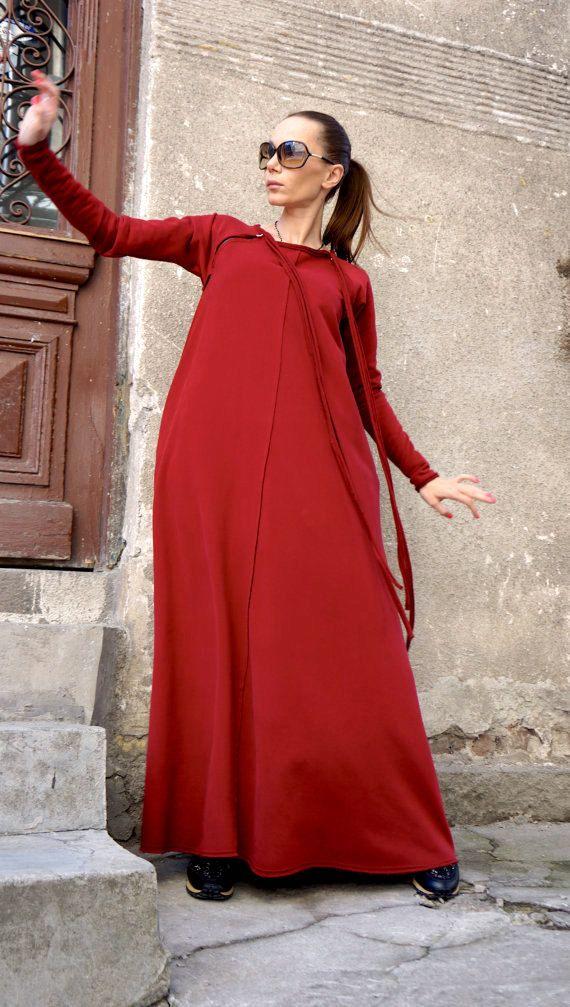 New 2016 Spring Maxi Dress / Burgundy Red Kaftan by Aakasha