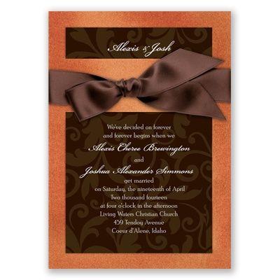 Chocolate and Copper wedding invitations from David's Bridal.  #invitation #davidsbridal #aislestyle