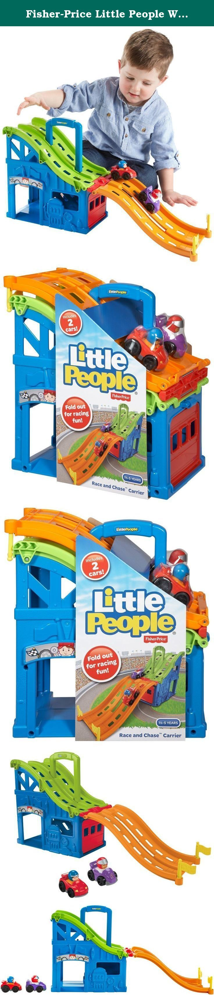 Fisher-Price Little People Wheelies Race and Chase Carrier. It's a race track that's a car carrier. It's a car carrier that's a race track. The Little People Wheelies Race and Chase Carrier is both-that's the beauty of it. When it's time to race, the track folds out, and kids can set the two Wheelies cars (included) at the top, send them zooming down the ramp and see which one wins! When it's time to put everything away for another day, the track folds back up, and the Wheelies cars store...