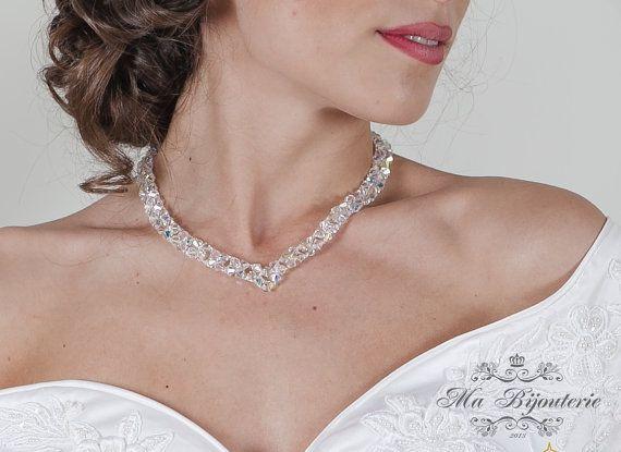 Swarovski Necklace Wedding Necklace Bridal by MaBijouterie on Etsy