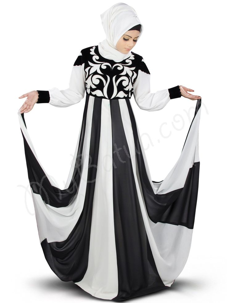 Beautiful Panels Off White_Black Party Wear Shurafa #Abaya|#MyBatua.com Style No : AY-359 Price : $101.90 Available Sizes XS to 7XL