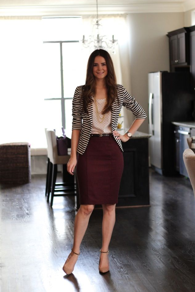 Striped jacket, polka dot blouse, burgundy skirt & nude heels: Veronika's Blushing