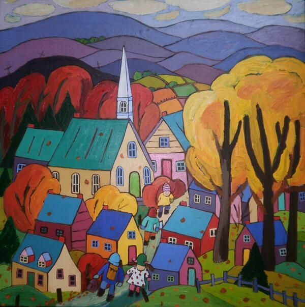 Home From School original acrylic by Terry Ananny 30 x 30 in. ARTSPACE Oakville