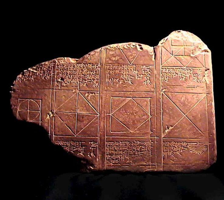 La tablette que vous avez sous les yeux représente l'un des plus vieux schémas mathématiques trouvé à ce jour. C'est la première utilisation du théorème de Pythagore que nous connaissions. La tablette à été découverte à Larsa (Irak actuelle) et date du XVIIIe siècle avant notre ère.   Cet artefact est la preuve tangible que le célèbre théorème, attribué à Pythagore, avait été découvert à Sumer des milliers d'années avant la naissance du mathématicien grec.