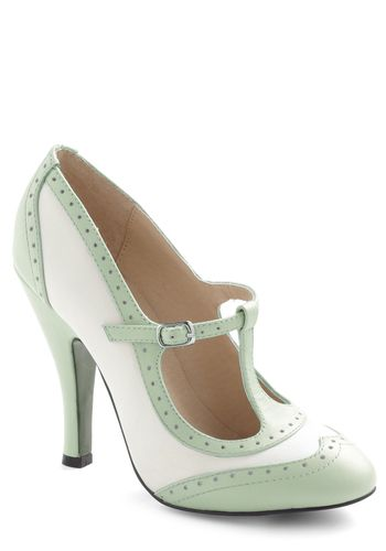 """Mint and white wingtip t-strap heel is a """"Be the Buyer"""" pick on ModCloth."""