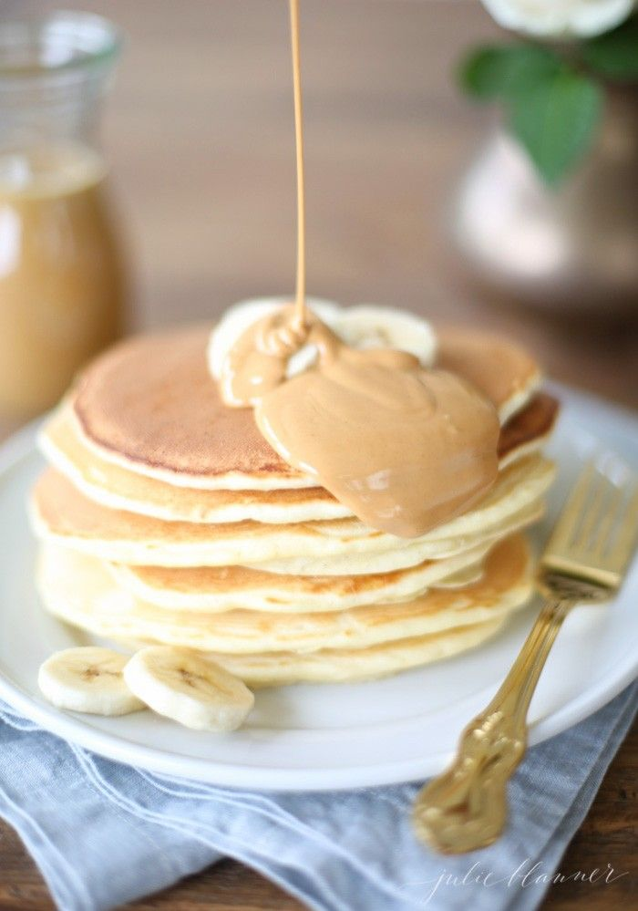 Classic Pancake Recipe with Peanut Butter Syrup